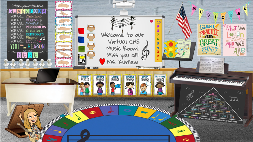 "Virtual music classroom with blackboard that reads ""Welcome to our virtual CHS music room! Miss you all! Ms. Kurilew"""