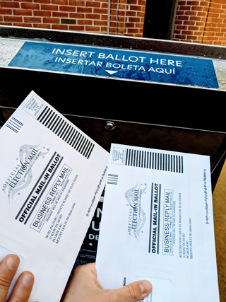 Two mail-in ballots going into ballot box